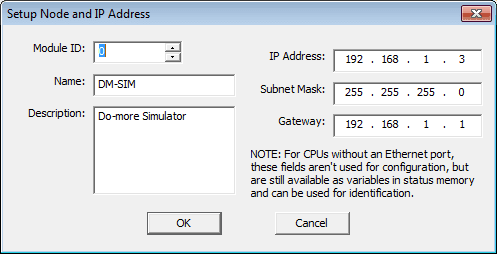 Do-More Prog03 Setup Node and IP Address