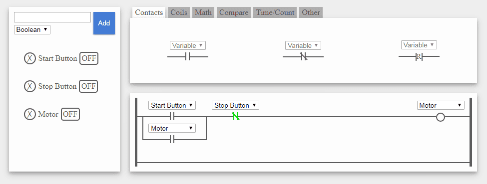 Plc beginners guide acc automation here is a simple online plc ladder editor it will allow you to create some simple ladder logic and test it ccuart Image collections