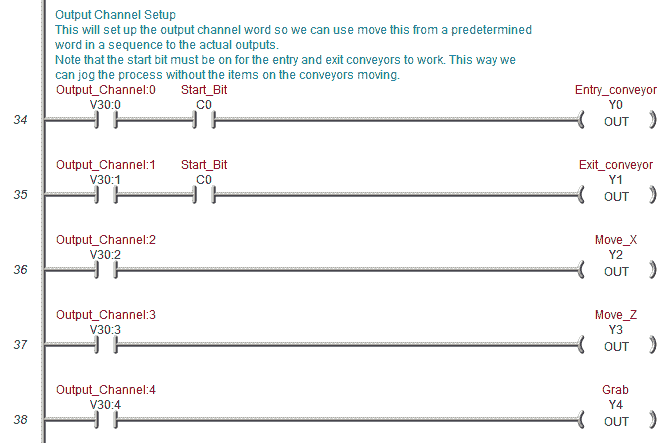 Plc programming example pick and place acc automation note that the start bit must be on for the entry and exit conveyors to work this way we can jog the process without the items on the conveyors moving ccuart Choice Image